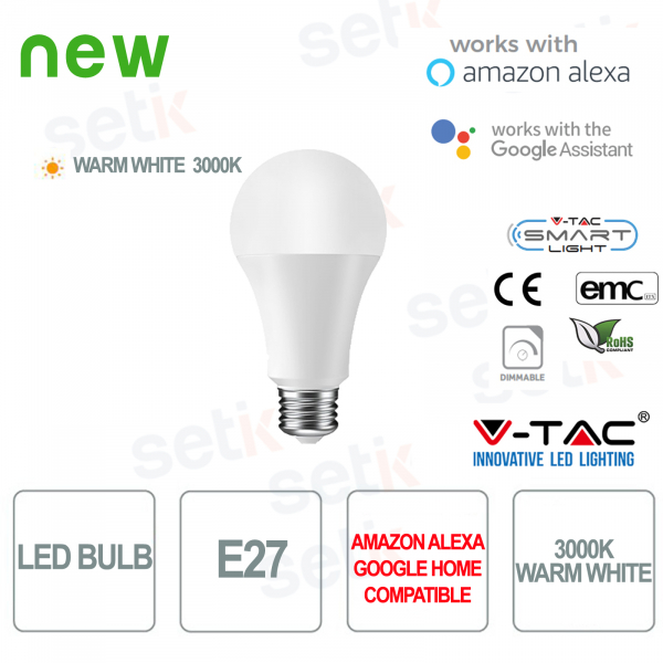 Smart Home LED Bulb E27 3000K Alexa Google Home V