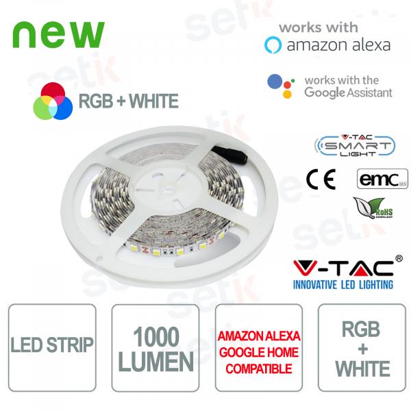Smart Home RGB + WHITE LED Strip 1000l 10 WATT Alexa Google Home V-TAC