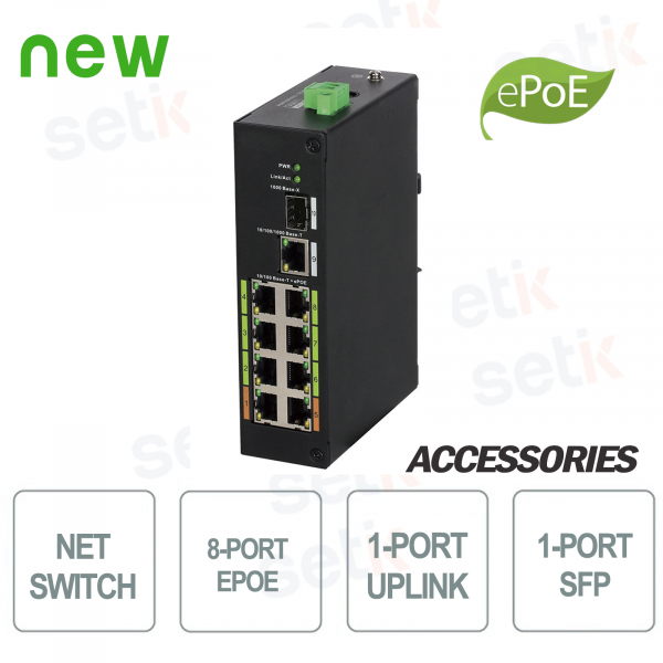 8-Port Industrial PoE Switch ePoE + Uplink + SFP - D