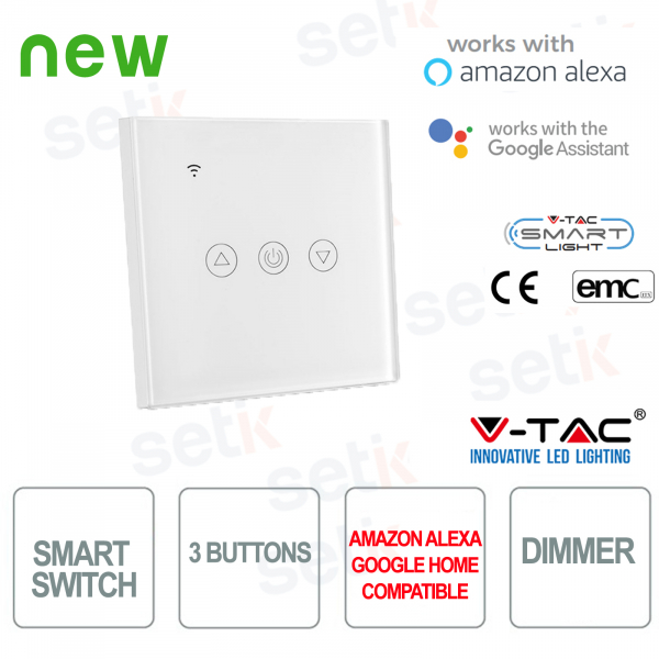 WIFI Interruttore Smart Home 3 tasti IP40 Alexa Google Home V-TAC Bianco