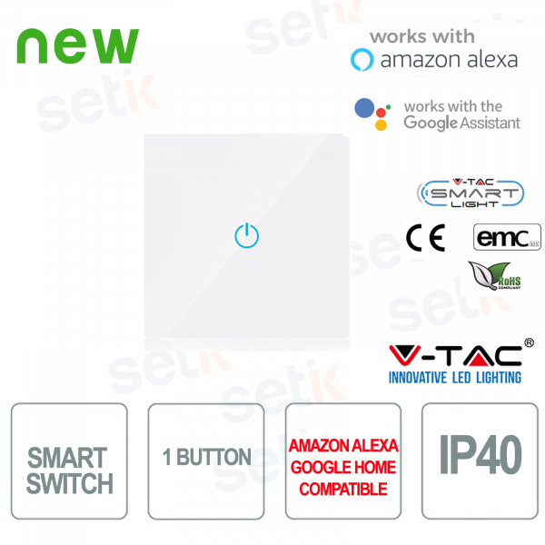 WIFI Smart Home Switch IP40 Alexa Google Home V-TAC W