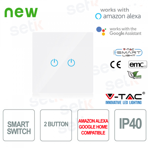 WIFI Touch Switch Smart Home IP40 Alexa Google Home V-TAC W