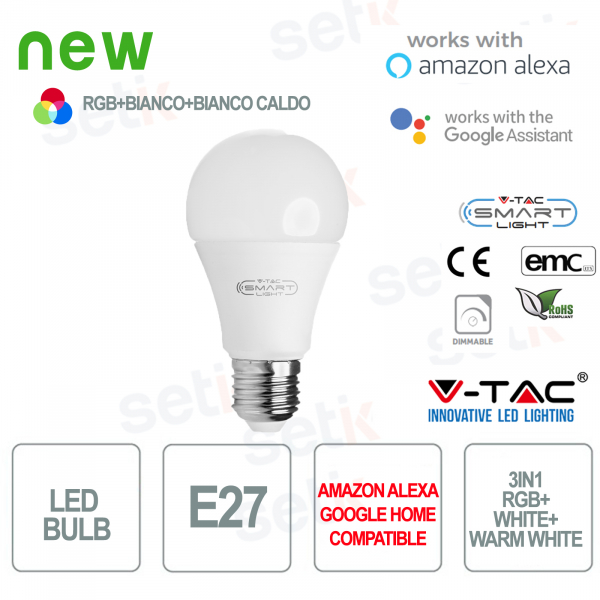 Bombilla LED Smart Home 3in1 RGB + 2700K + 6400K E27 A60 Alexa Google Home