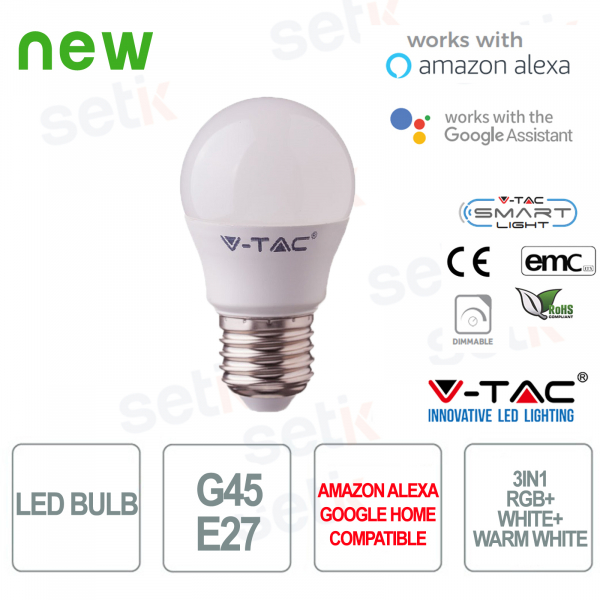 LED bulb G45 Smart Home 3in1 RGB + 2700K + 6400K E27 4.5w Alexa Google