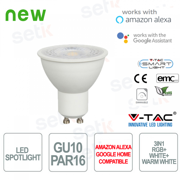 LED spotlight P45 Smart Home 3in1 RGB + 2700K + 6400K GU10 4.5W Alexa Google