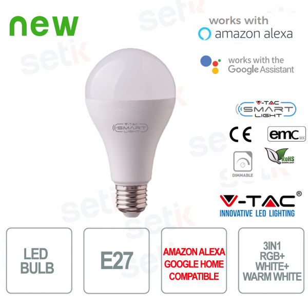 Lampadina LED A95 Smart Home 3in1 E27 18w Alexa Google Home