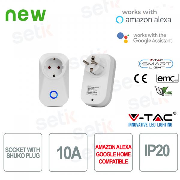 WIFI Presa elettrica con attacco Shuko Smart Home Alexa Google Home V-TAC