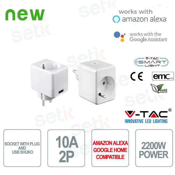 WIFI Electrical socket with Shuko connection and USB input Smart Home Alexa Google Home V