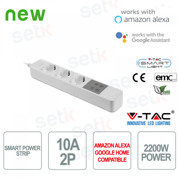 WIFI Smart Home Power Strip 3 Shuko Sockets Alexa Google Home V