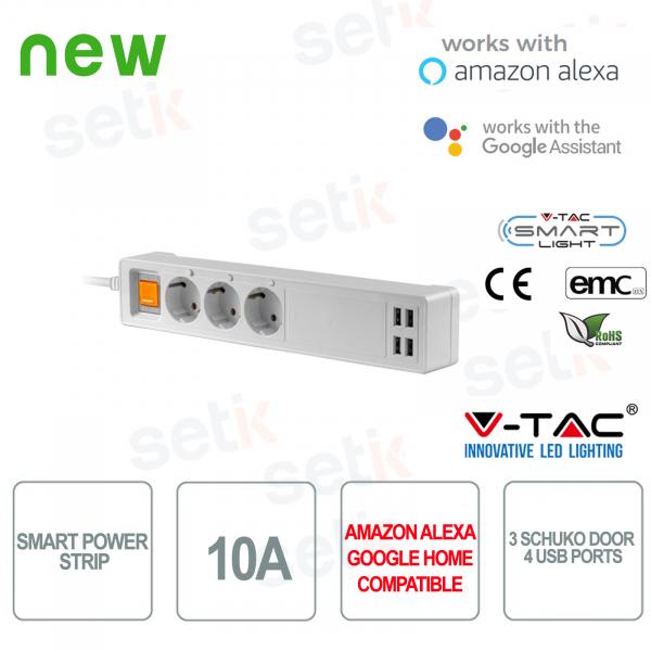 WIFI Smart Home power strip 3 Schuko sockets 4 Alexa USB sockets Google Home V
