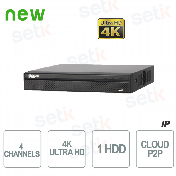 NVR IP 4 Canali H.265 4K Ultra HD - Fino a 8 MP - Dahua