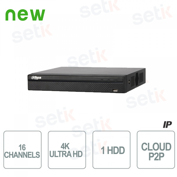 16 Channel IP NVR H.265 4K Ultra HD - Up to 8 MP - D
