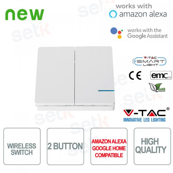 Interruttore 2 Tasti WIRELESS Smart Home  V-TAC