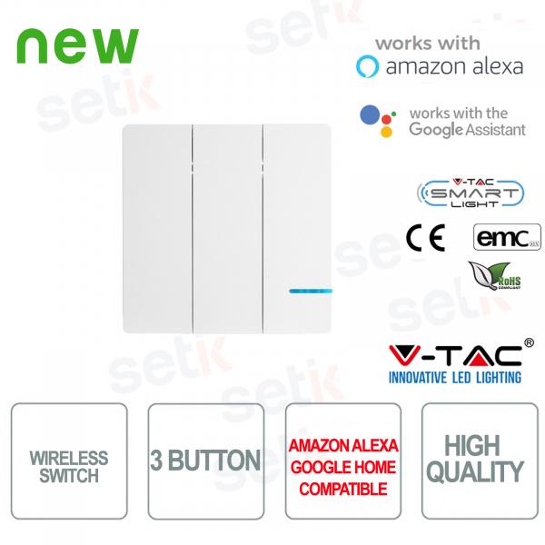 Interruttore 3 Tasti WIRELESS Smart Home V-TAC