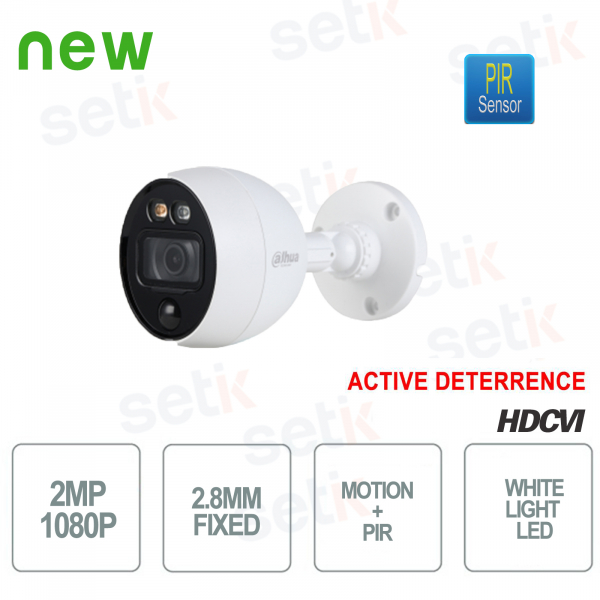 Telecamera HD CVI 2MP 2.8mm PIR Active Deterrence MotionEye Dahua