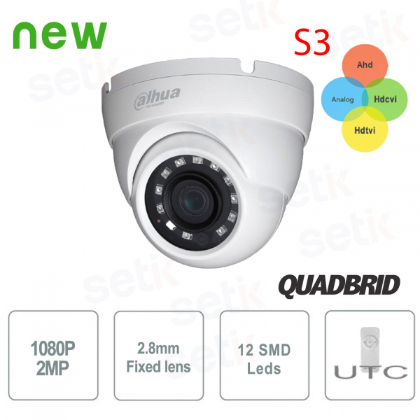 2MP 1080P FULL HD HDCVI 4 in 1 IR Eyeball 2.8mm Dome Camera - Dahua