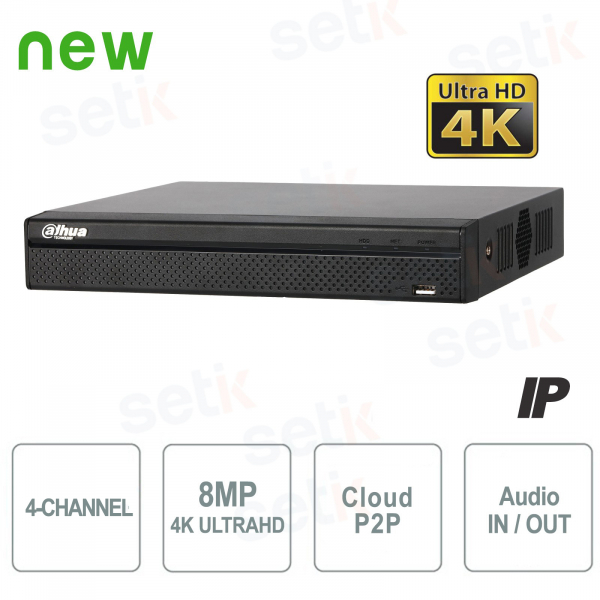 NVR IP a 4 Canali 4K H.265 fino a 8MP 1HDD Audio - Serie Lite Dahua