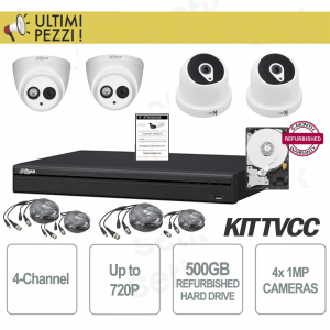 Kit Videosorveglianza 4 Canali 720P + Telecamere 1MP + HD 500GB