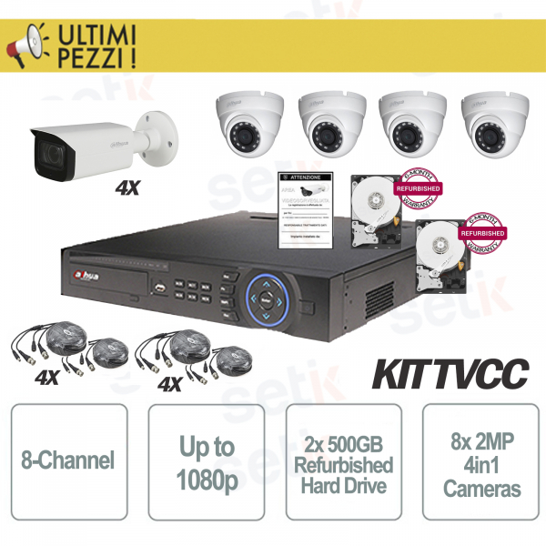 Video Surveillance Kit 8 Channels 1080P + 2MP 4in1 + 2 HD 500GB Cam