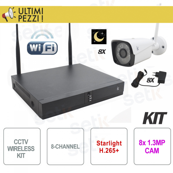 Kit Videosorveglianza Wireless IP 8 Canali H.265 Starlight Setik