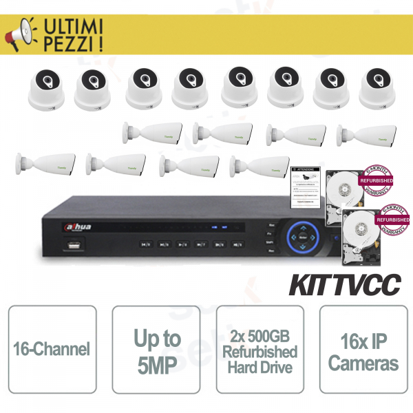 IP Video Surveillance Kit 16 Channels 5MP + Megapixel Cameras + 2 HD 5