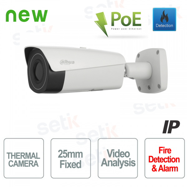 Telecamera IP PoE Dahua Camera Termica 25mm Video Analisi e Allarme Incendio