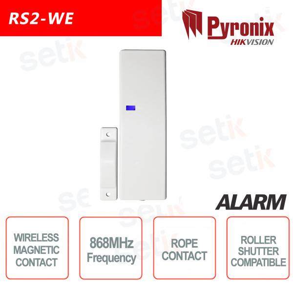 A fune contatto Magnetico Wireless 868MHz Pyronix Hikvision sensore tapparella con ingressi
