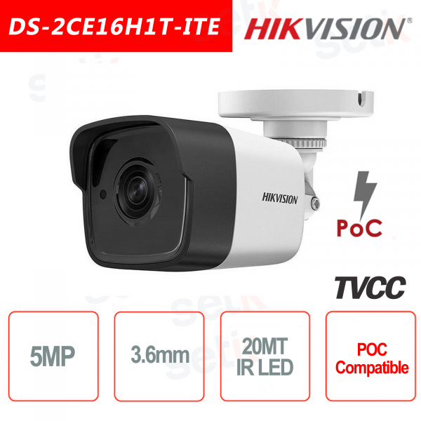 Telecamera Hikvision 5MP Bullet Camera HD Turbo HD-TVI 3.6mm IR POC