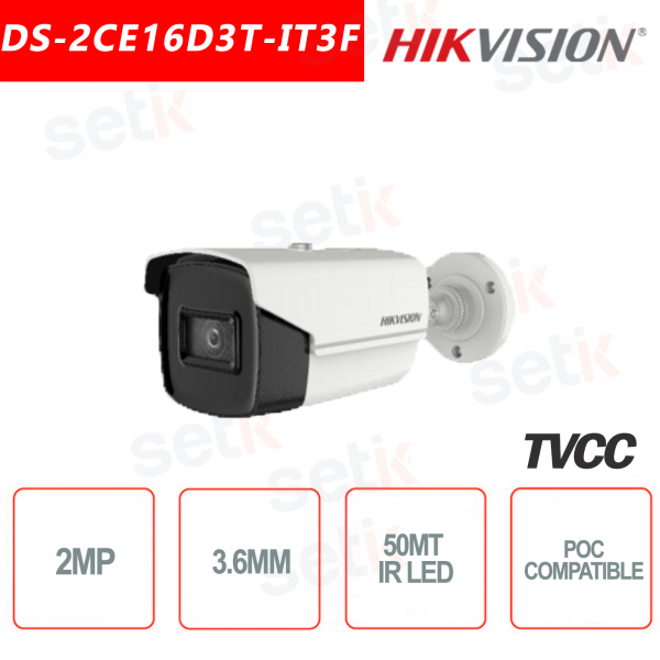 Telecamera Hikvision 2MP Bullet Camera HD Turbo HD-TVI 4in1 3.6mm IR 50 MPOC