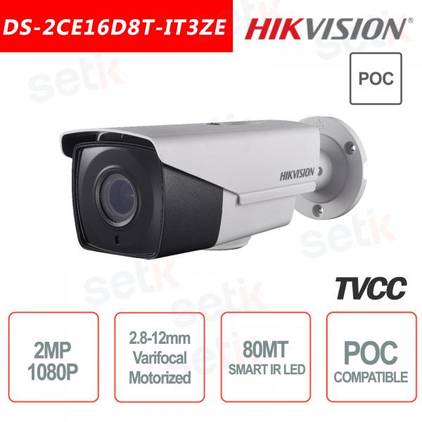 Telecamera Hikvision Ultra Low-Light 2MP POC Camera HD Turbo TVI Motorizzata EXIR 80M WDR
