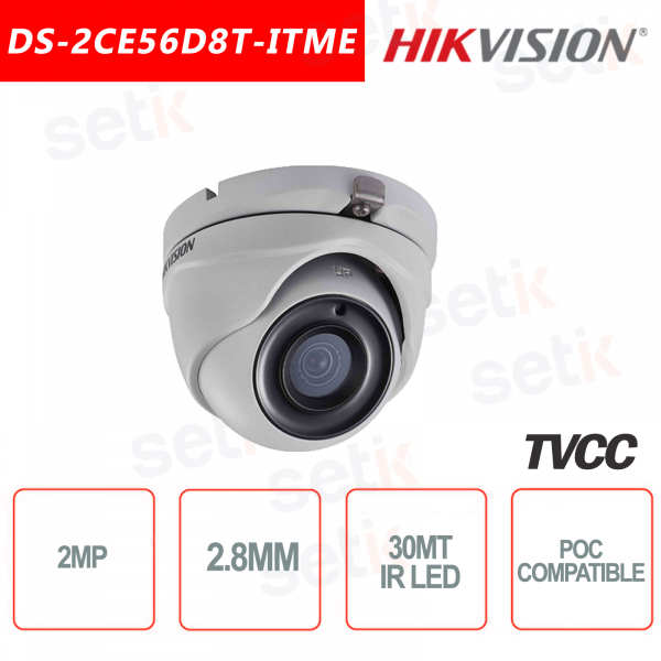 Telecamera Hikvision 2MP Turret Camera HD-TVI 2.8mm IR POC