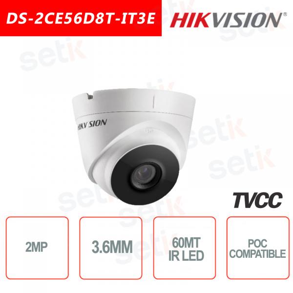 Hikvision Turret Ultra Low-Light 2MP POC Camera HD Turbo TVI 3.6mm EXIR 60M