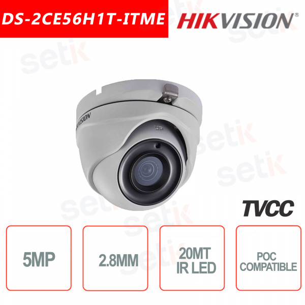 Telecamera Hikvision 5MP Turret Camera HD-TVI 2.8mm IR POC