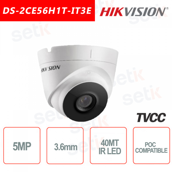 Telecamera Hikvision Turret Ultra Low-Light 5MP POC Camera HD Turbo TVI 3.6mm EXIR 40M WDR