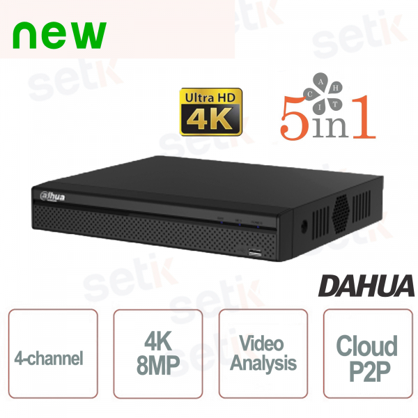 DVR 5in1 H265 4 Channels Ultra HD 4K 8MP Video Analysis - D