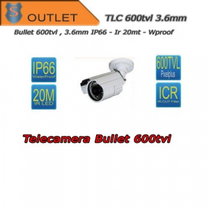 Telecamera Bullet 600TVL Focal 3.6mm - Bianca - IR 20mt  - Outlet