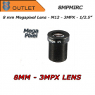 "8mm. lens - 3MPX. F1.6 1/2.5"". S-MOUNT.  HFOV 39° - Outlet"