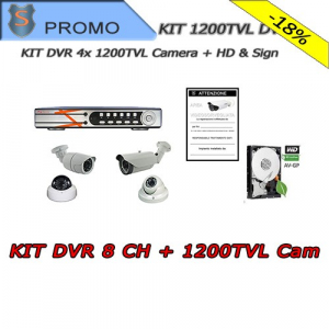 Analogue Kit 8 Channels + HD 500GB +  4 CAM 1200TVL + Sign