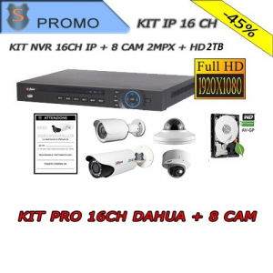 KIT NVR 16 Channels + 4x CAM 2.0Mpx 3.6mm + 4x CAM 2MPX IP Varifocals + HD 2TB + Sign