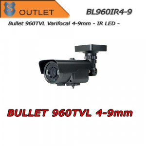 Telecamera Bullet 960TVL Varifocal 4-9mm - IR 50mt - Outlet