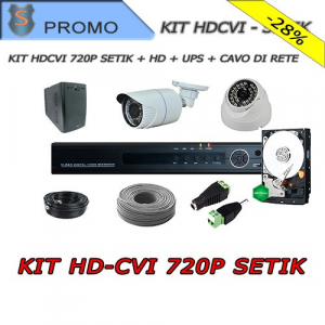 KIT HDCVI 4 Channels 720P Setik + HD + UPS + Network Cable + Sign
