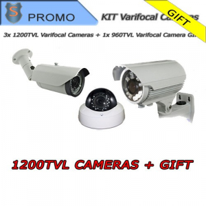 KIT 1200TVL Cameras 2.8-12mm + 960TVL Camera GIFT!