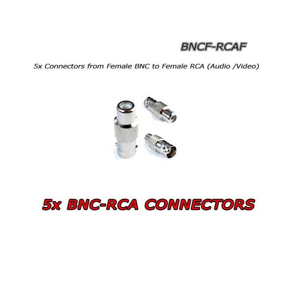 5X Connettori BNC Femmina ad RCA Femmina per CCTV Audio/Video