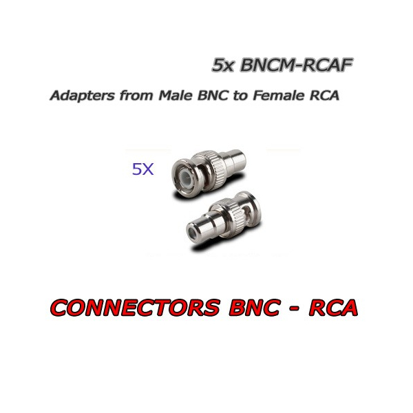 5 x BNC Male to RCA Female Connectors for CCTV - Audio/Video