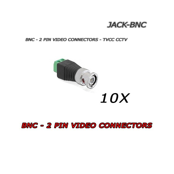 10x Connettori Video JACK - BNC per CCTV TVCC