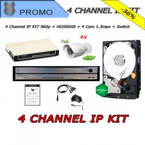 KIT-4-Channel IP NVR  960P HDMI + Hard Disk 500GB + 4x 1.3MPX PoE IP Cameras + Switch