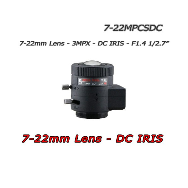 "7-22mm lens 3MPX. DC-IRIS -  F1.4. 1/2.7"" CS. HFOV 43° ~ 14°"