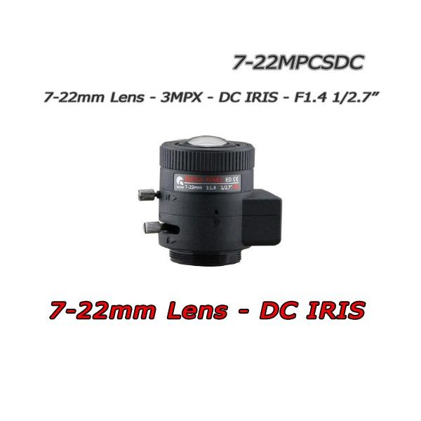 """Obiettivo 7-22mm 3MPX. DC-IRIS -  F1.4. 1/2.7"""" CS.  HFOV 43° ~ 14°"""