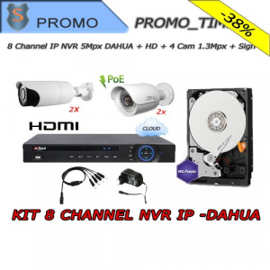 KIT 8 Channel IP NVR + HD 1TB + Sign + 1.3Mpx Cameras + Power Supplies