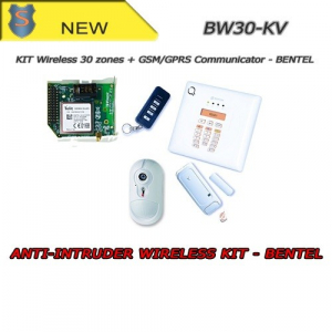 COMPLETE WIRELESS ALARM KIT - PIR 30 ZONES + GPRS/GSM COMMUNICATOR - ANTITHEFT - BW30-KV - BENTEL